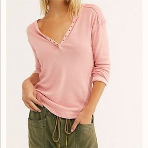 Free People Military Mix Henley Top Blush Pink